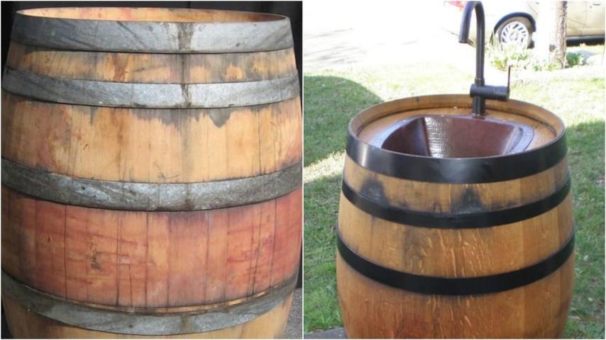 Come riciclare una vecchia botte e trasformarla in un for Lavandino da esterno ikea