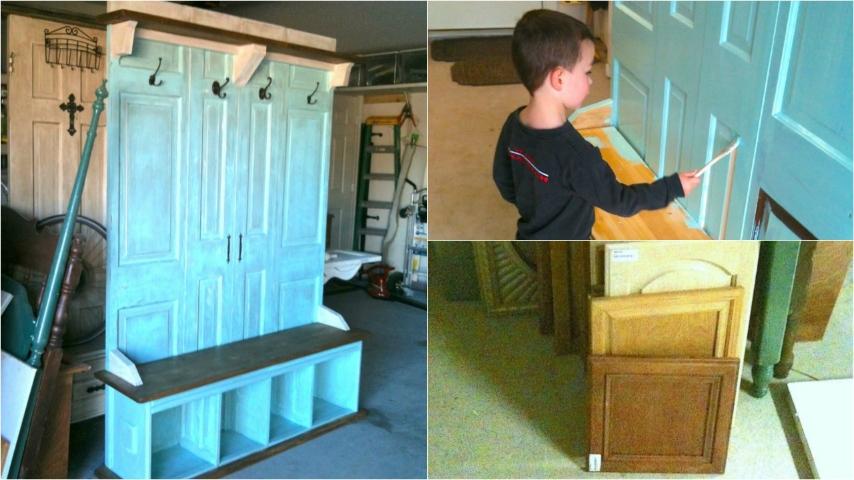 Come trasformare una porta vecchia in una panca - Costruire una cucina con materiali di recupero ...
