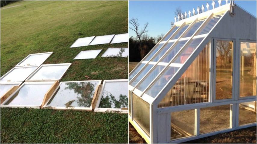 Come riciclare vecchie finestre l 39 idea per costruire un 39 originale serra da giardino - Costruire un giardino ...