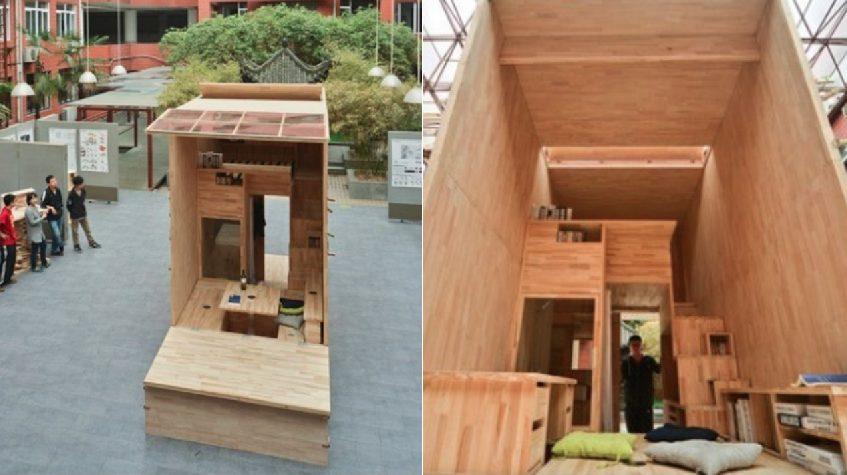 Studente costruisce una mini casa in legno completa di ogni comfort il progetto straordinario - Come costruire una casa in miniatura ...