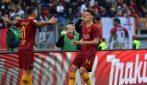 Cristian Totti raccattapalle in Roma-Sampdoria, l'esultanza del figlio del Pupone