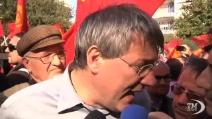 Pomigliano, migliaia alla manifestazione Fiom per lo sciopero Ue
