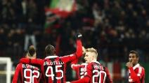 La gioia di Constant e Bonera, dopo la sofferta vittoria con l'Udinese