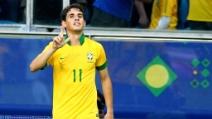 Il gol di Oscar in Brasile-Francia 3-0 09.06.2013