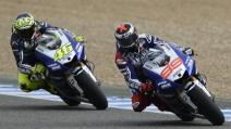 Valentino Rossi e Jorge Lorenzo nel secondo giorno di test a Brno