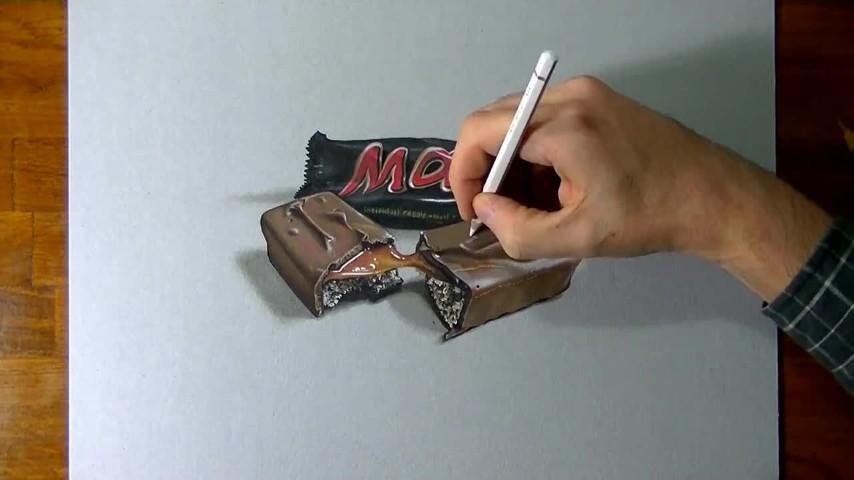 Disegno in 3d la barretta di cioccolata mars che sembra reale for Disegnare cucina 3d gratis