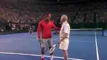Il leggendario riscaldamento tra Federer e Laver