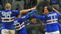Il gol di Maxi Lopez contro il Genoa