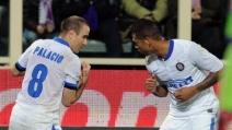 Il gol di Palacio porta in vantaggio l'Inter a Firenze