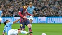 Messi segna il rigore in Champions contro il Manchester City
