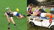 Violento colpo all'avversario nel football australiano: si scatena una mega rissa