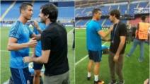 Cristiano Ronaldo e Raul, l'abbraccio tra due leggende a San Siro