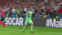 Portogallo-Galles, l'esultanza di Cristiano Ronaldo dopo il gol