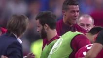 Cristiano Ronaldo piange di gioia dopo il gol di Eder