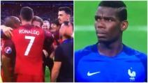"""Portogallo-Francia 1-0, Cristiano Ronaldo festeggia: arriva la """"reazione"""" di Pogba"""