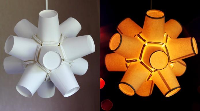 Come riciclare i bicchieri di carta e creare un u0026#39;originale lampada fai da te -> Lampadario Fai Da Te Con Grucce