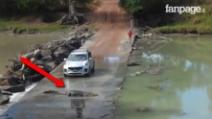 Un coccodrillo blocca la strada a un'automobile: il motivo vi coglierà di sorpresa