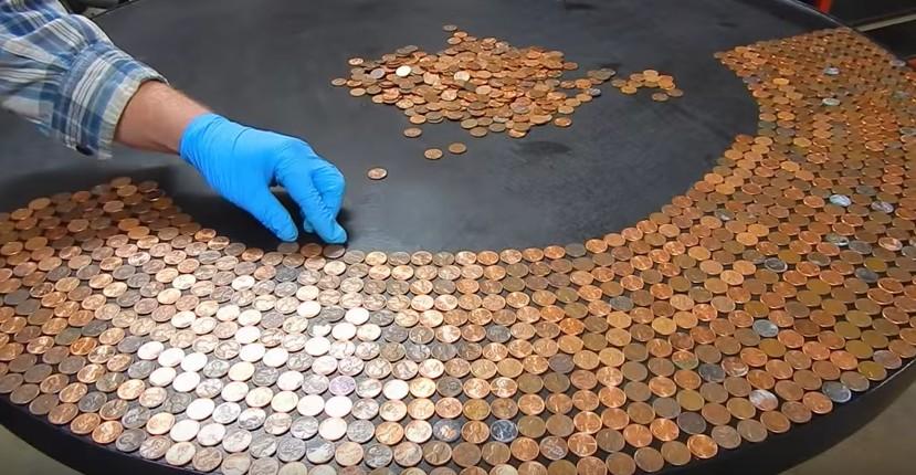 Incolla monetine l idea bellissima per decorare il tavolo