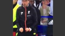 Chelsea-Liverpool 1-2, l'esultanza di Klopp dopo il secondo gol