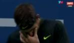 Del Portro in lacrime durante la partita contro Wawrinka