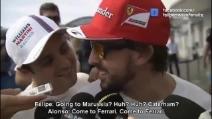 """Massa prende in giro Alonso: """"Vai alla Marussia? Alla Caterham?"""""""