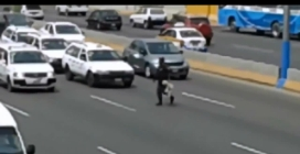 Poliziotto ferma il traffico per mettere in salvo un cagnolino spaventato