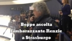 Strasburgo, Beppe Grillo ascolta il discorso di Renzi