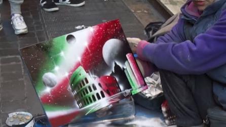 Un vero capolavoro con lo spray per le vie di Roma