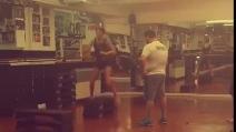 Belen Rodriguez si allena in palestra