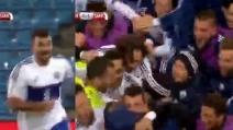 Gol di Stefanelli, la grandissima gioia dei calciatori di San Marino