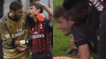 Milan-Sassuolo, l'esplosione di gioia e le lacrime del 18enne Manuel Locatelli dopo il gran gol