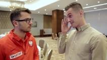 Infortunio Milik, l'attaccante polacco del Napoli quasi in lacrime durante l'intervista