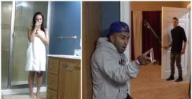 La fidanzata è sotto la doccia e quando entra in camera trova l'amico che la spia