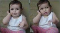 La piccola prende il telefono del padre: la scena che vi farà morire dal ridere