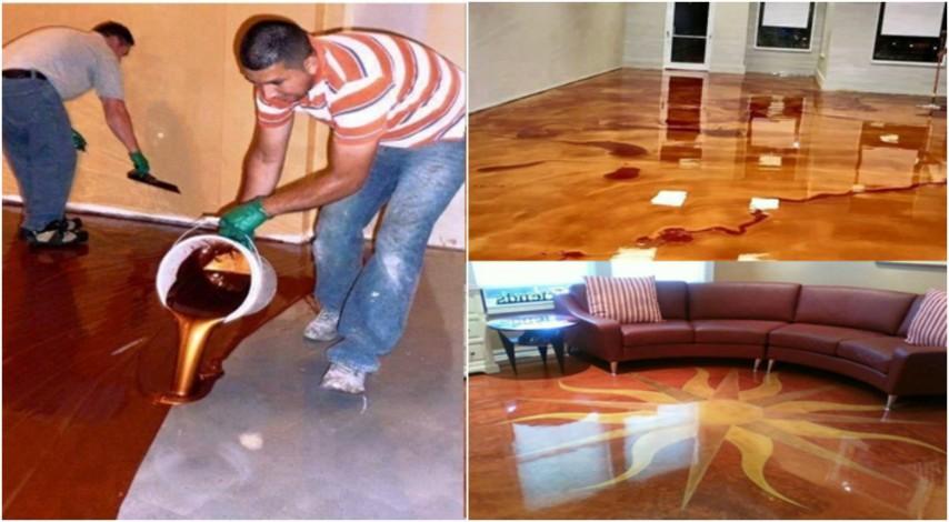 Pavimento In Resina Epossidica Prezzo : Versano un liquido metallico: il pavimento che vi lascerà senza parole