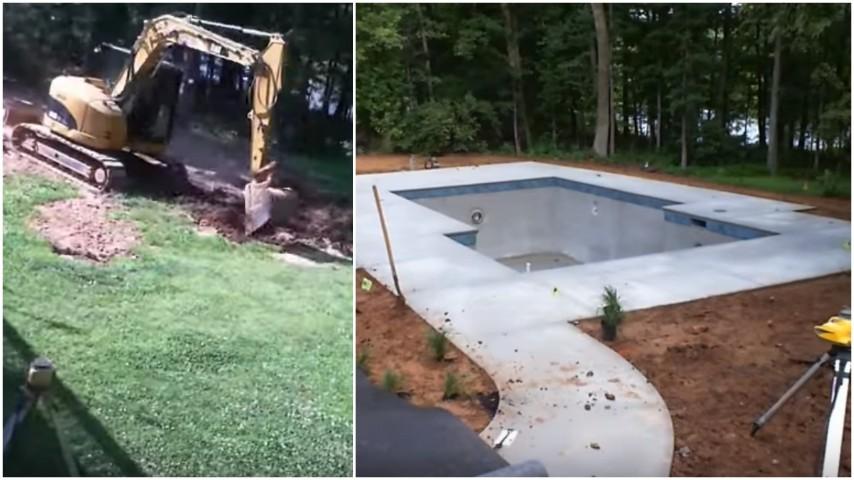 Come costruire una piscina in giardino dagli scavi con la ruspa al lavoro finito - Costruire un giardino ...