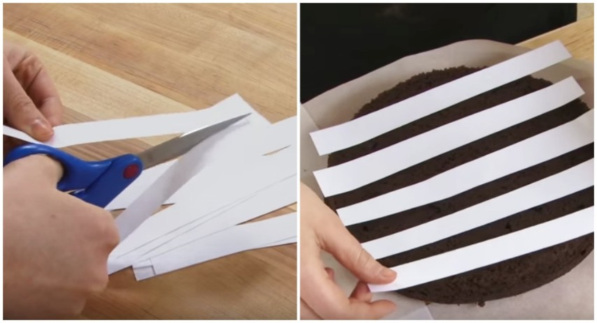 Ritaglia delle strisce di carta e le poggia sulla torta for Decorazioni zucchero a velo
