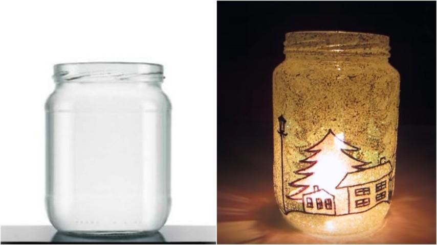 Come realizzare una lanterna di natale con vecchi - Come decorare un barattolo ...