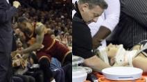 LeBron James cade sugli spettatori e manda all'ospedale una tifosa