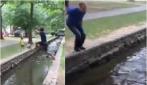 Il suo amico salta il fiume con classe, lui ci prova ma ecco cosa succede
