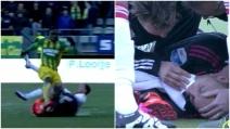 Paura per Cillessen, il portiere dell'Ajax colpito da un calcio in faccia