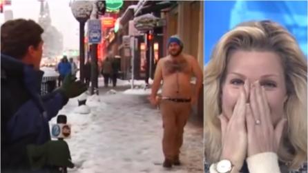 """""""Ma non hai freddo?"""", sentite come l'uomo a torso nudo risponde al giornalista in diretta"""