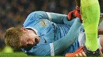 Il grave infortunio a De Bruyne contro l'Everton