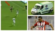 Alvaro Pereira perde la testa: calcio volante in faccia all'avversario e ambulanza in campo