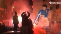 Napoli, che spettacolo ai Quartieri Spagnoli: cori e fuochi d'artificio per il murales di Maradona