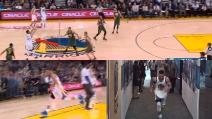 Stephen Curry segna ancora da centrocampo a fine tempo e poi scappa via