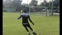 La sfida di Balotelli durante l'allenamento