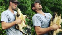 Solleva la tartaruga e prova a darle un bacio: se ne pente un attimo dopo