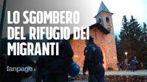 Migranti, la polizia sgombera il rifugio sulla frontiera tra Italia e Francia