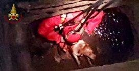 Il cane è intrappolato a 15 metri di profondità: l'emozionante intervento dei vigili del fuoco